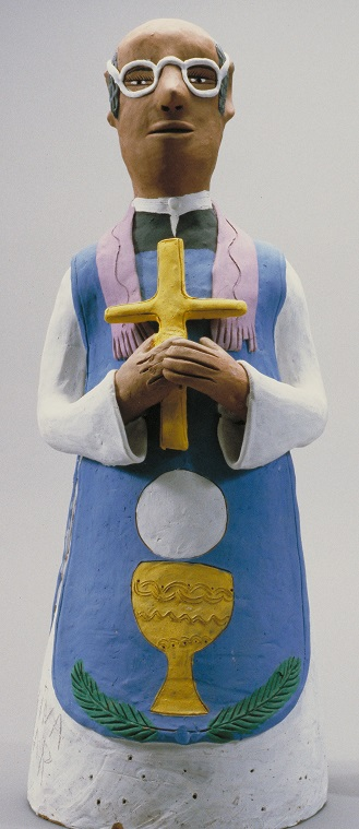 Ceramic Figure of a Priest, Josefina Aguilar, Mexico, ca. 1980 (A.1995.93.2206)