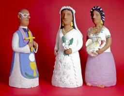 A Priest, A Bride, and A Woman Holding The Head of A Pig, Josefina Aguilar, Mexico, ca. 1980